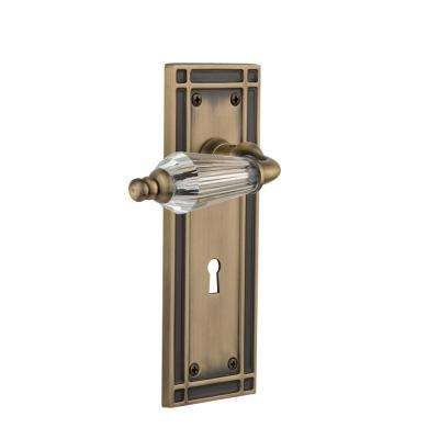 Mission Plate with Keyhole 2-3/4 in. Backset Antique Brass Privacy Bed/Bath Parlor Lever