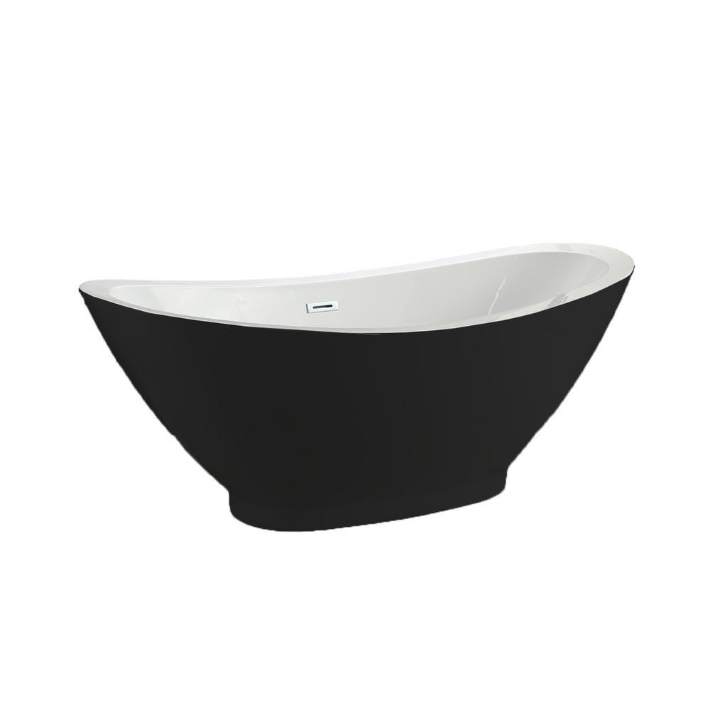 Seal 69 In. Acrylic Flatbottom Non-Whirlpool Bathtub In