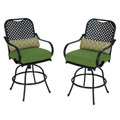 Fall River Motion Patio High Dining Chair with Moss Cushion (2-Pack)