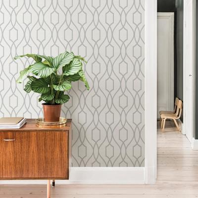56.4 sq. ft. Evelyn Silver Trellis Wallpaper