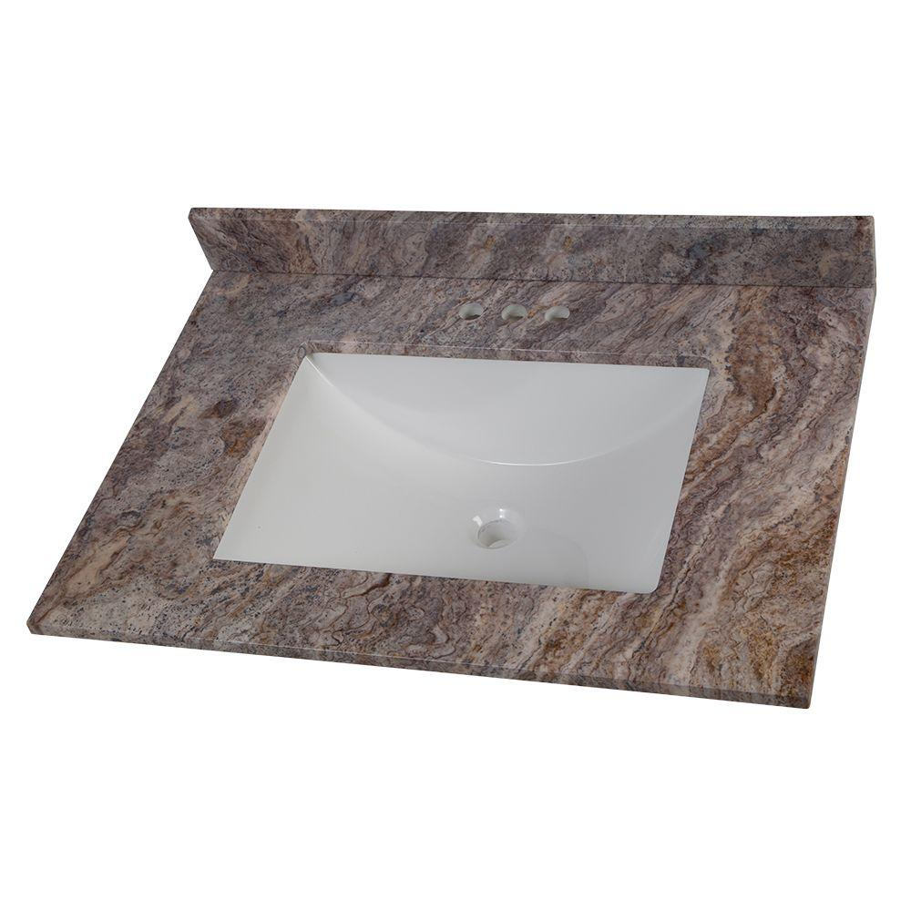 Home Decorators Collection Home Decorators Collection 31 in. W Stone Effects Vanity Top in Cold Fusion with White Sink