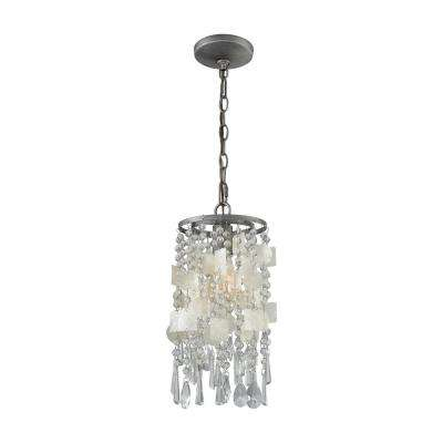 Alexandra 1 Light Weathered Zinc With Capiz Shells And Clear Crystal Pendant