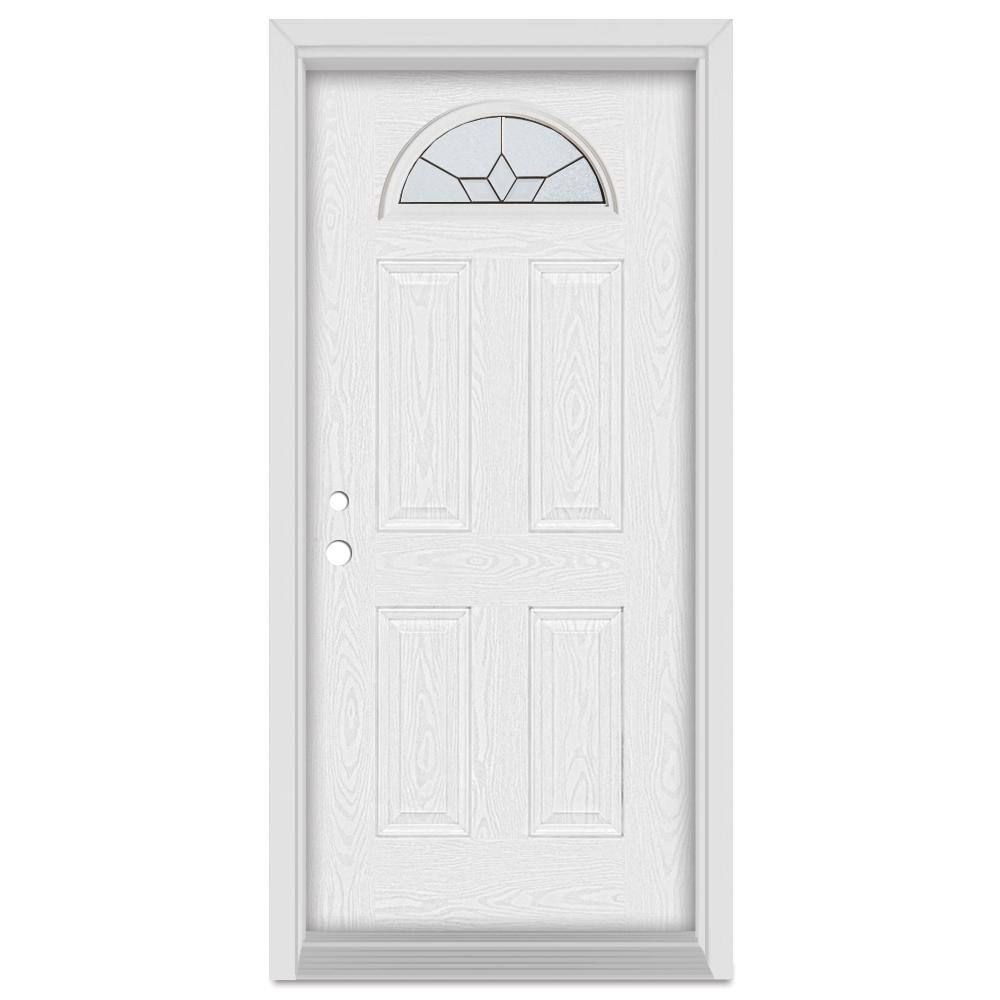Stanley Doors 32 in. x 80 in. Geometric Right-Hand Half Moon Lite Patina Finished Fiberglass Oak Woodgrain Prehung Front Door