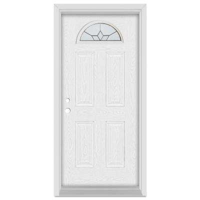 32 in. x 80 in. Geometric Right-Hand Half Moon Lite Patina Finished Fiberglass Oak Woodgrain Prehung Front Door