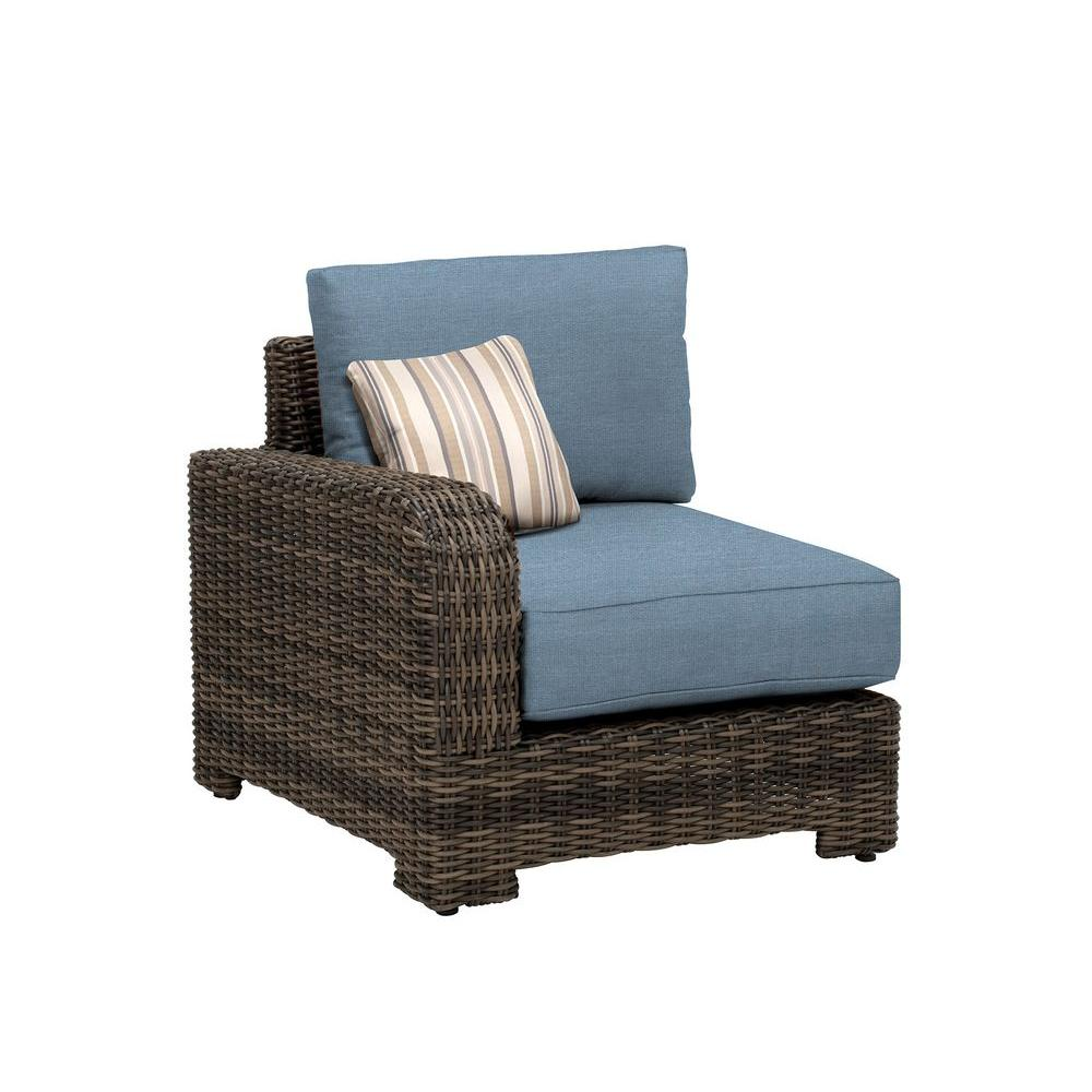 Brown Jordan Northshore Left Arm Patio Sectional Chair with Denim Cushion and Terrace Lane Throw Pillow -- CUSTOM