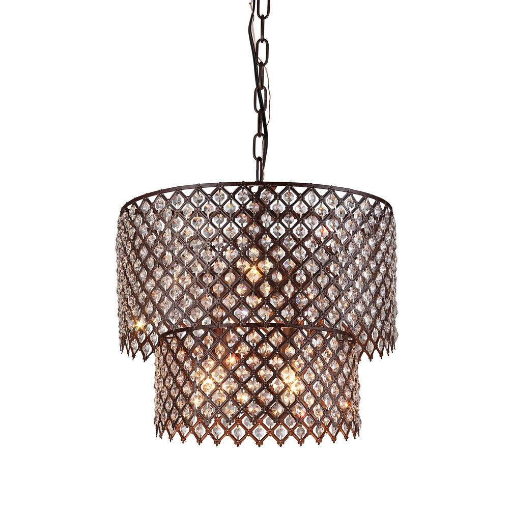 Bernadette 8-Light Antique Bronze Indoor Crystal Chandelier with Shade - Bernadette 8-Light Antique Bronze Indoor Crystal Chandelier With