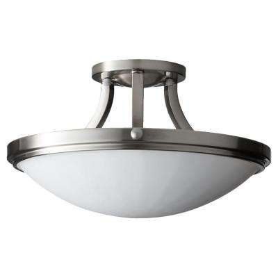 Perry 2-Light Brushed Steel Semi-Flush Mount