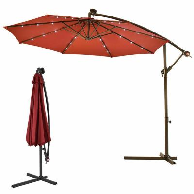 10 ft. Steel Market Hanging Solar LED Patio Umbrella with Base in Burgundy
