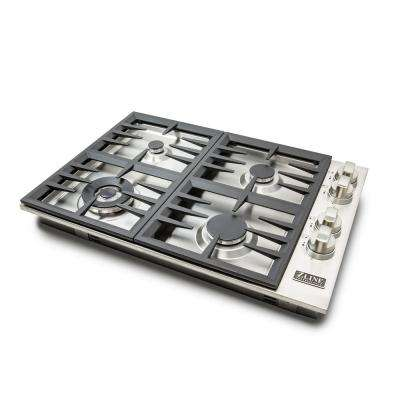 ZLINE 30 in. Stainless Steel Drop-in Cooktop with 4 Gas Burners