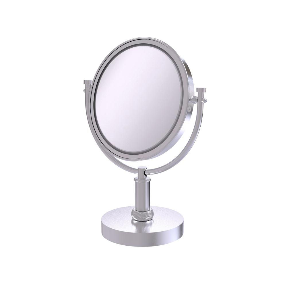 8 in. Vanity Top Make-Up Mirror 3X Magnification in Satin Chrome