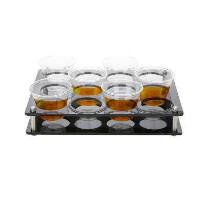 Black Acrylic Rectangle 12 Slot Cup Holder Tray