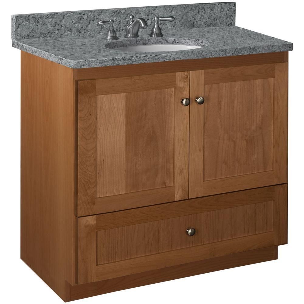 Shaker 36 in. W x 21 in. D x 34.5 in. H Vanity with No Side Drawers Cabinet Only in Medium Alder
