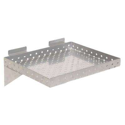 KCF 12 in. x 10 in. x 1 in. Perforated Metal Slatwall Shelf, Silver (Pack of 2)