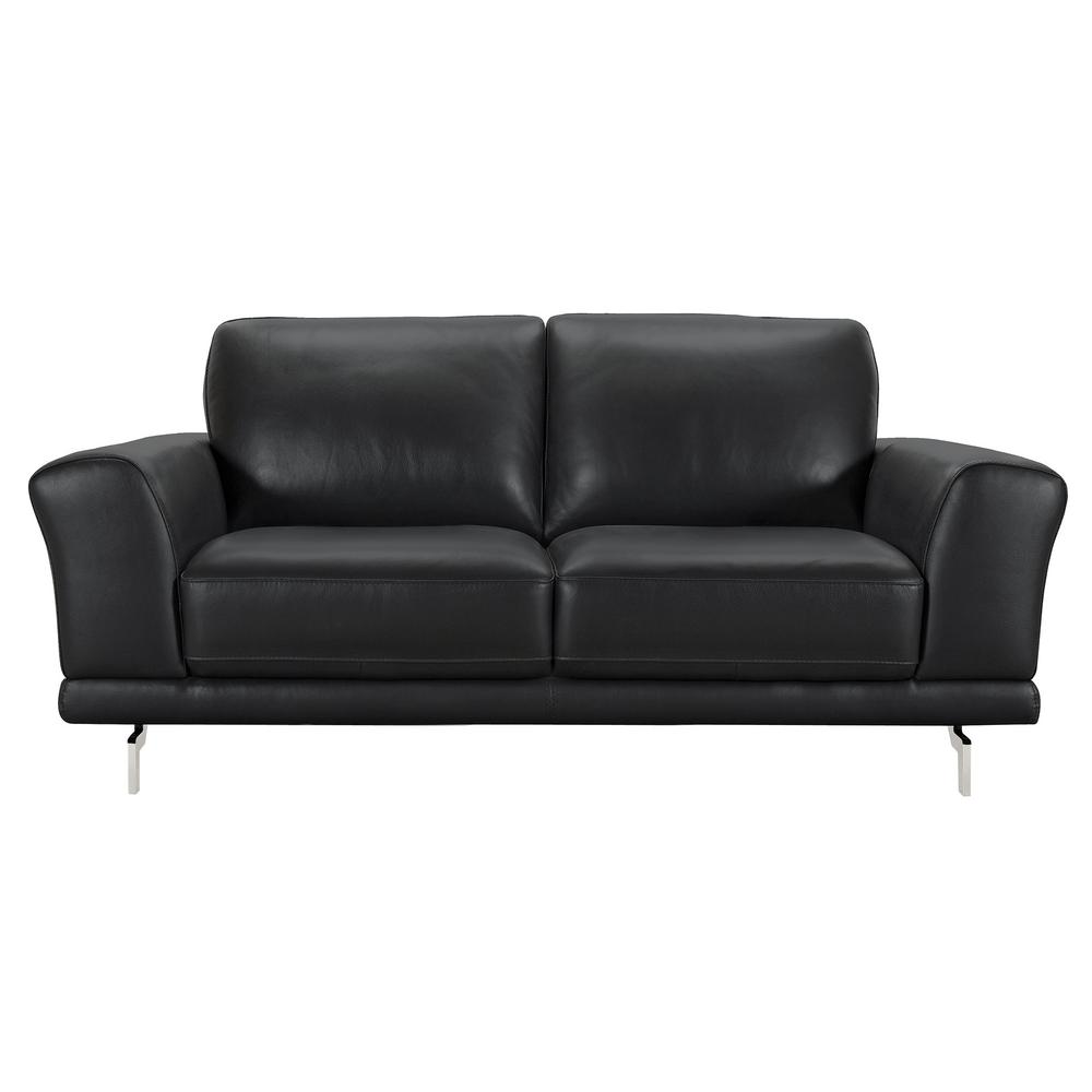 Armen Living Armen Living Everly Genuine Black Leather Contemporary Loveseat  With Brushed Stainless Steel Legs