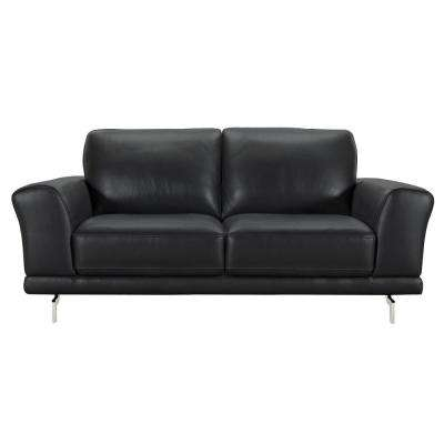 Armen Living Everly Genuine Black Leather Contemporary Loveseat with Brushed Stainless Steel Legs
