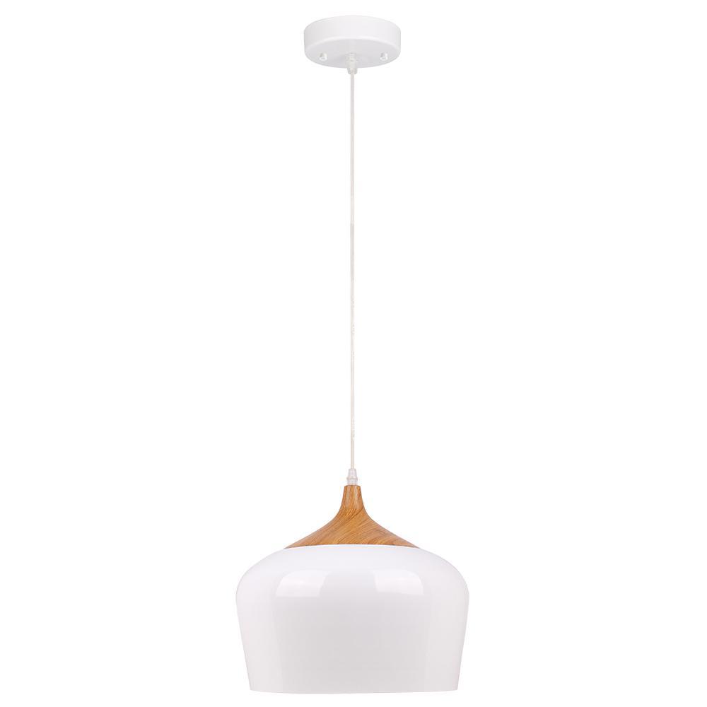 Beldi Urbania 1 Light White And Wood Pendant Fixture