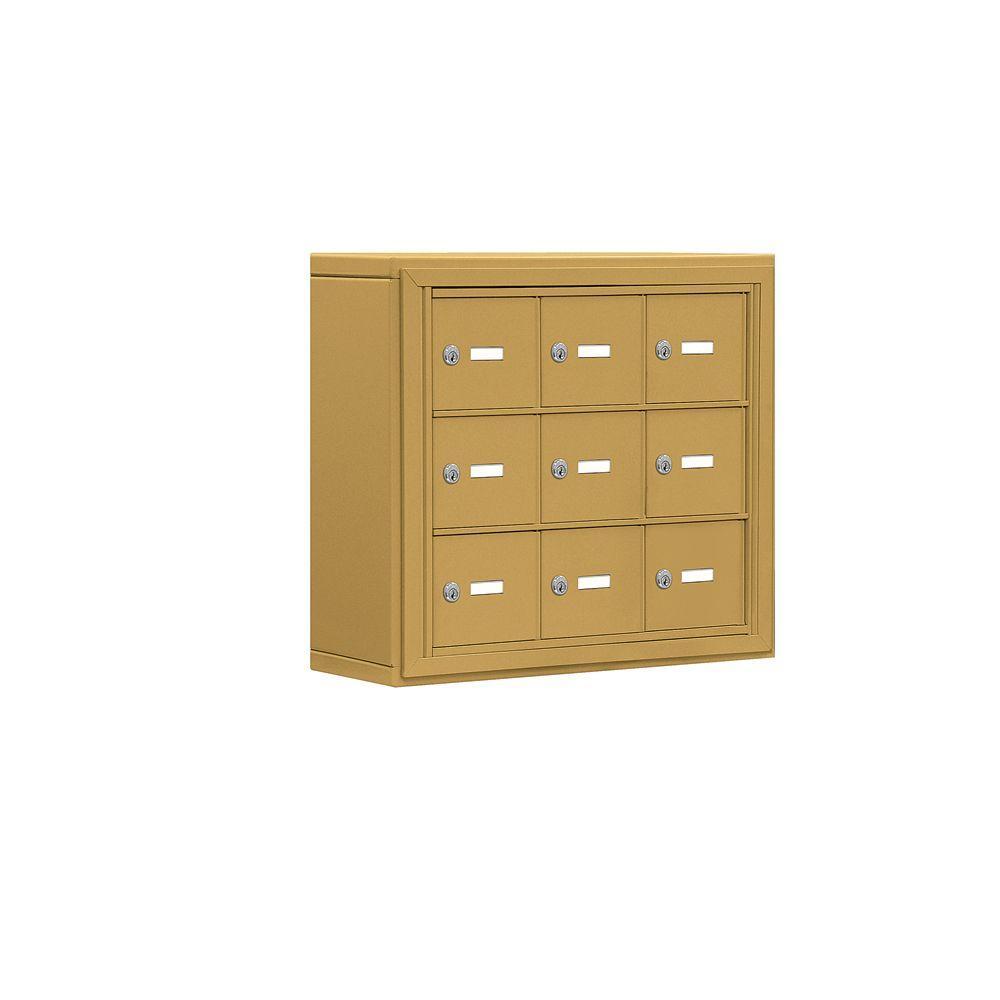 19000 Series 24 in. W x 20 in. H x 6.25 in. D 9 A Doors S-Mount Keyed Locks Cell Phone Locker in Gold