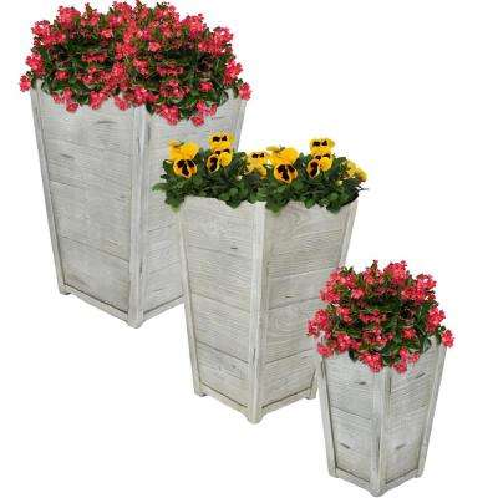 Manor Fiber Clay Square Durable Indoor/Outdoor Use Planter Flower Pot Set (3-Piece)