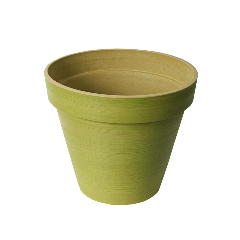 H Polystone Spun Green Round Band Planter Pot