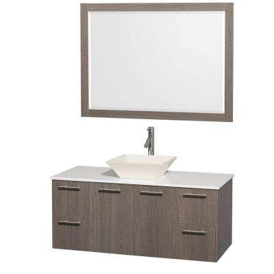 Amare 48 in. Vanity in Grey Oak with Man-Made Stone Vanity Top in White and Bone Porcelain Sink