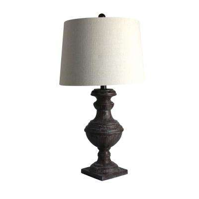 28 in. Cottage Bronze Espresso Classic Urn On Square Pedestal Resin Table Lamp