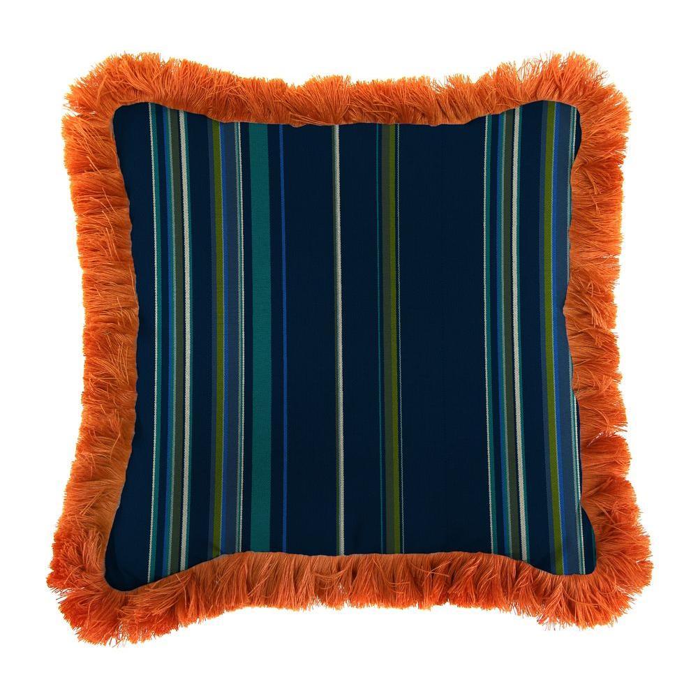 Jordan Manufacturing Sunbrella Stanton Lagoon Square Outdoor Throw Pillow with Tuscan Fringe