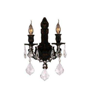 Versailles 2-Light Flemish Brass Clear Crystal Wall Sconce