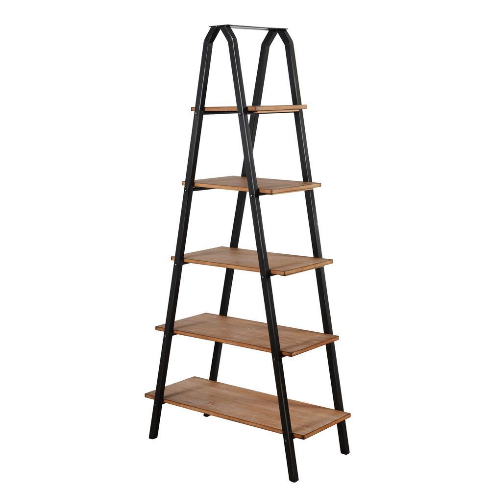 Archer Ridge Driftwood Grey Ladder Bookcase