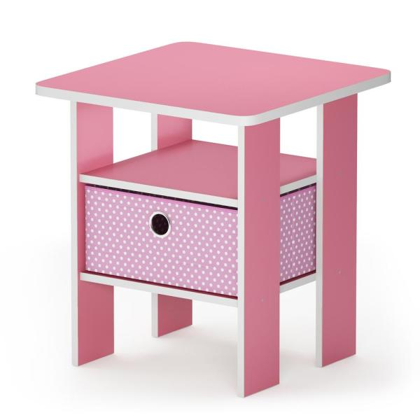 Furinno Multipurpose Pink Bin Drawer End Table