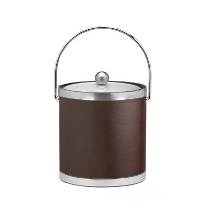 Sophisticates 3 Qt. Brown and Brushed Chrome Ice Bucket with Bale Handle, Metal Lid (Case of 6)