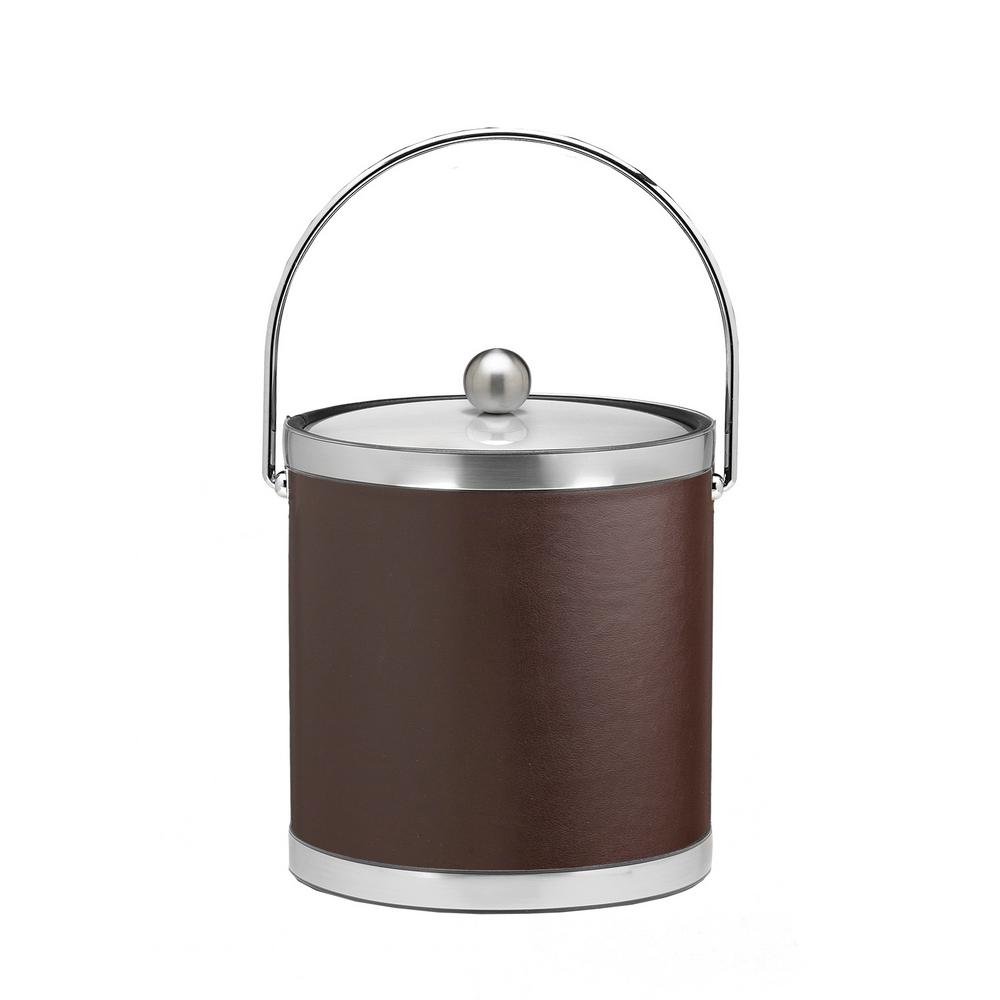 Sophisticates 3 Qt. Brown and Brushed Chrome Ice Bucket with Bale