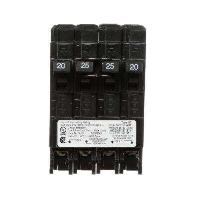 25 Amp Double-Pole and (2) 20 Amp Single-Pole Type QT Triplex Circuit Breaker