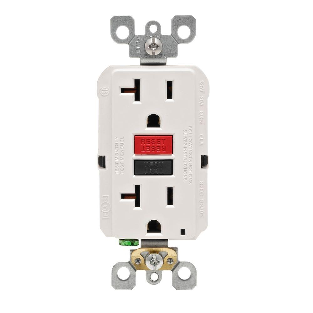 Leviton 20 Amp 125-Volt Duplex Self-Test GFCI Outlet, White