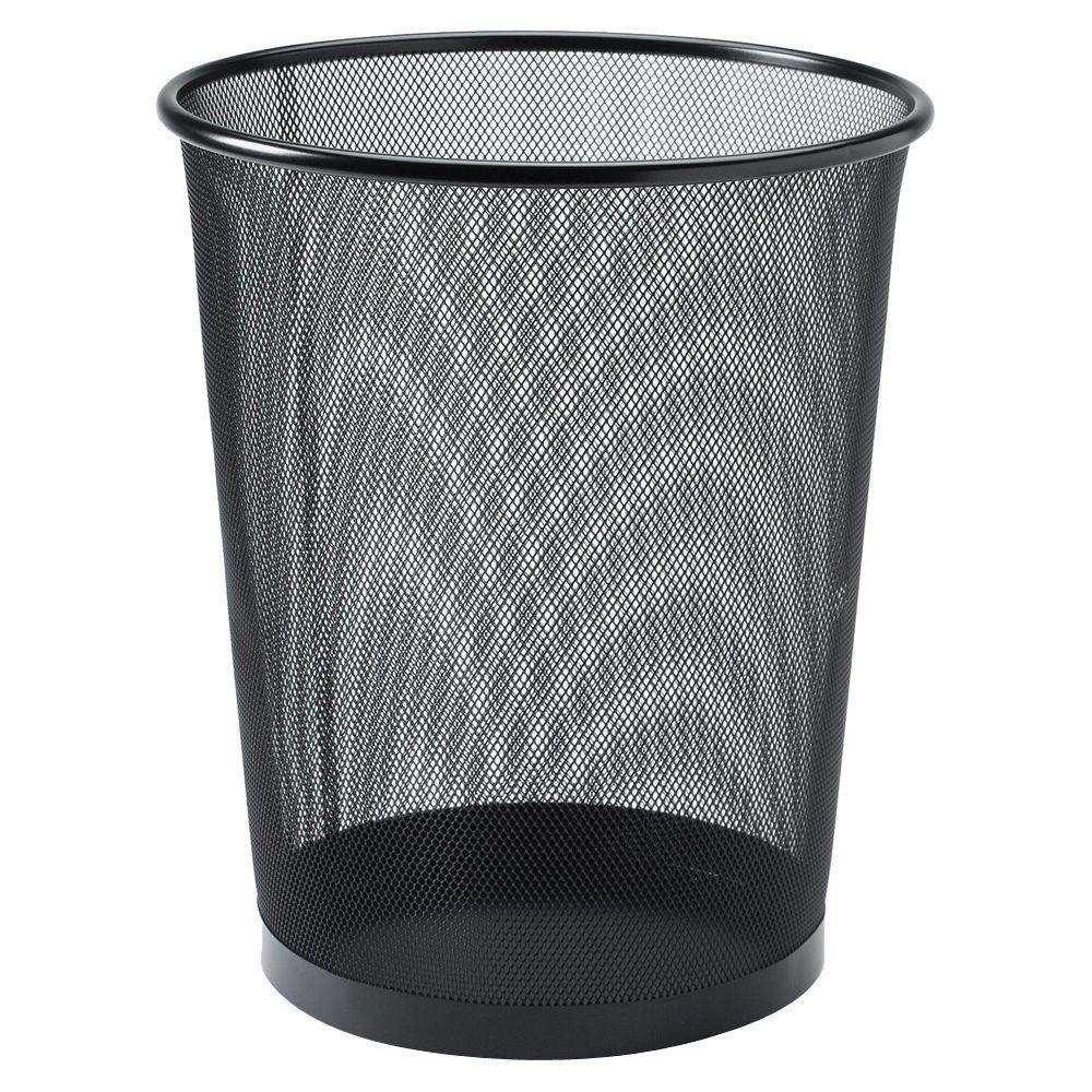 Lorell 4.7 oz. Black Round Steel Mesh Trash Can
