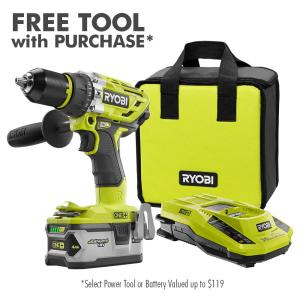 18-Volt ONE+ Cordless Brushless 1/2 in. Hammer Drill/Driver with One 4.0 Ah Battery, Charger, and Bag
