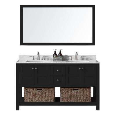 60 in. W x 22 in. D x 34.2 in. H Bath Vanity in Espresso with Marble Vanity Top in White with White Basin and Mirror