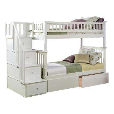 Columbia Staircase White Twin Over Twin Bunk Bed with 2-Urban Bed Drawers