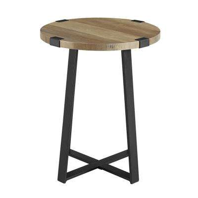 18 in. Rustic Oak Rustic Urban Industrial Wood and Metal Wrap Round Accent Side Table
