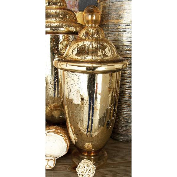 Litton Lane 18 in. Brown-Speckled Luminous Gold Glass Urn Jar with