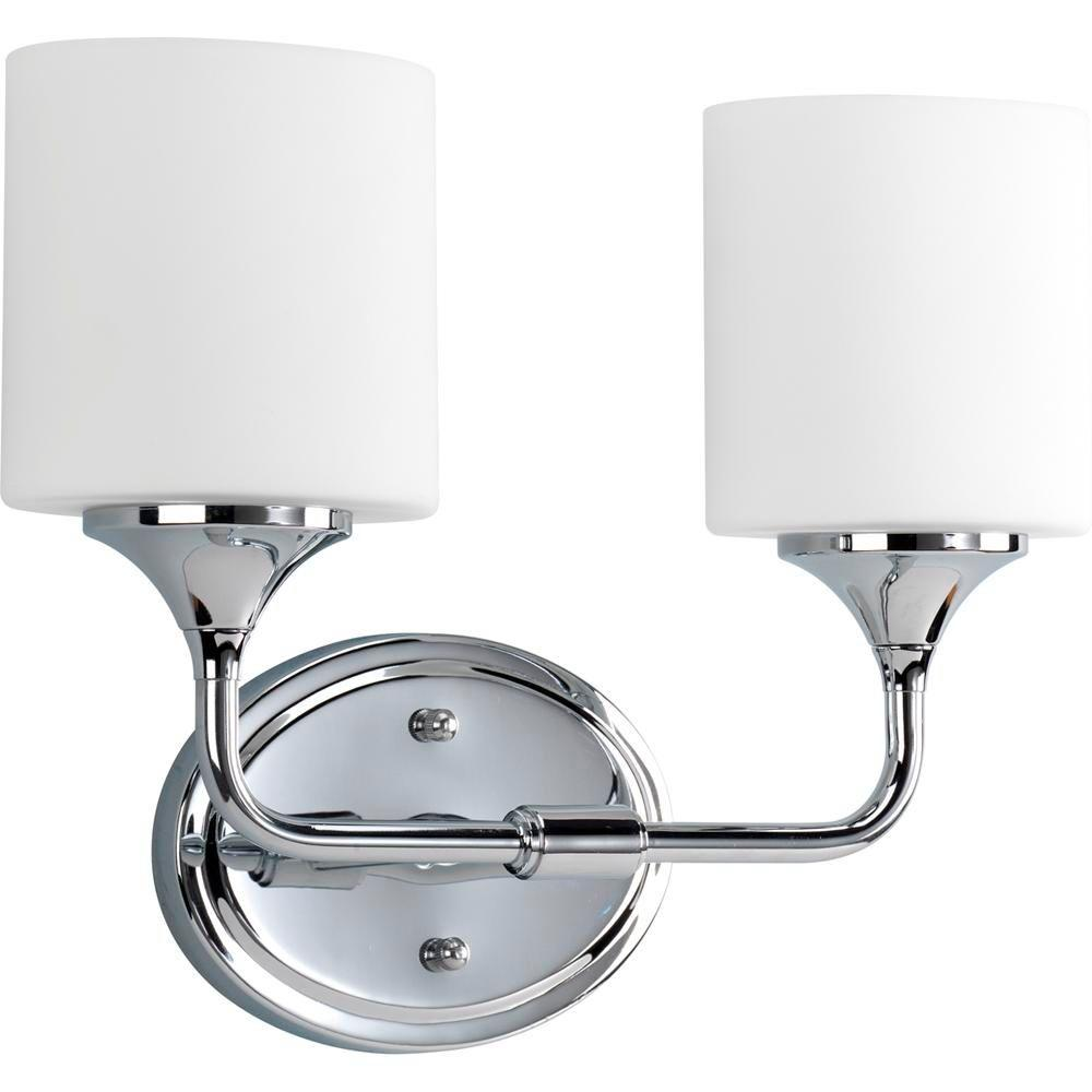 Lynzie Collection 2-Light Chrome Vanity Light with Opal Etched Glass Shades