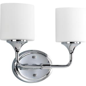 Lynzie Collection 2 Light Chrome Vanity With Opal Etched Glass Shades Progress Lighting