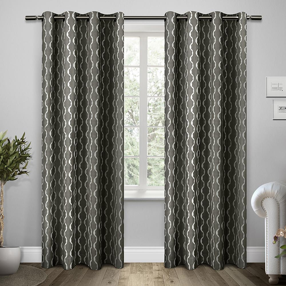 Trellis Black Pearl Grommet Top Window Curtain