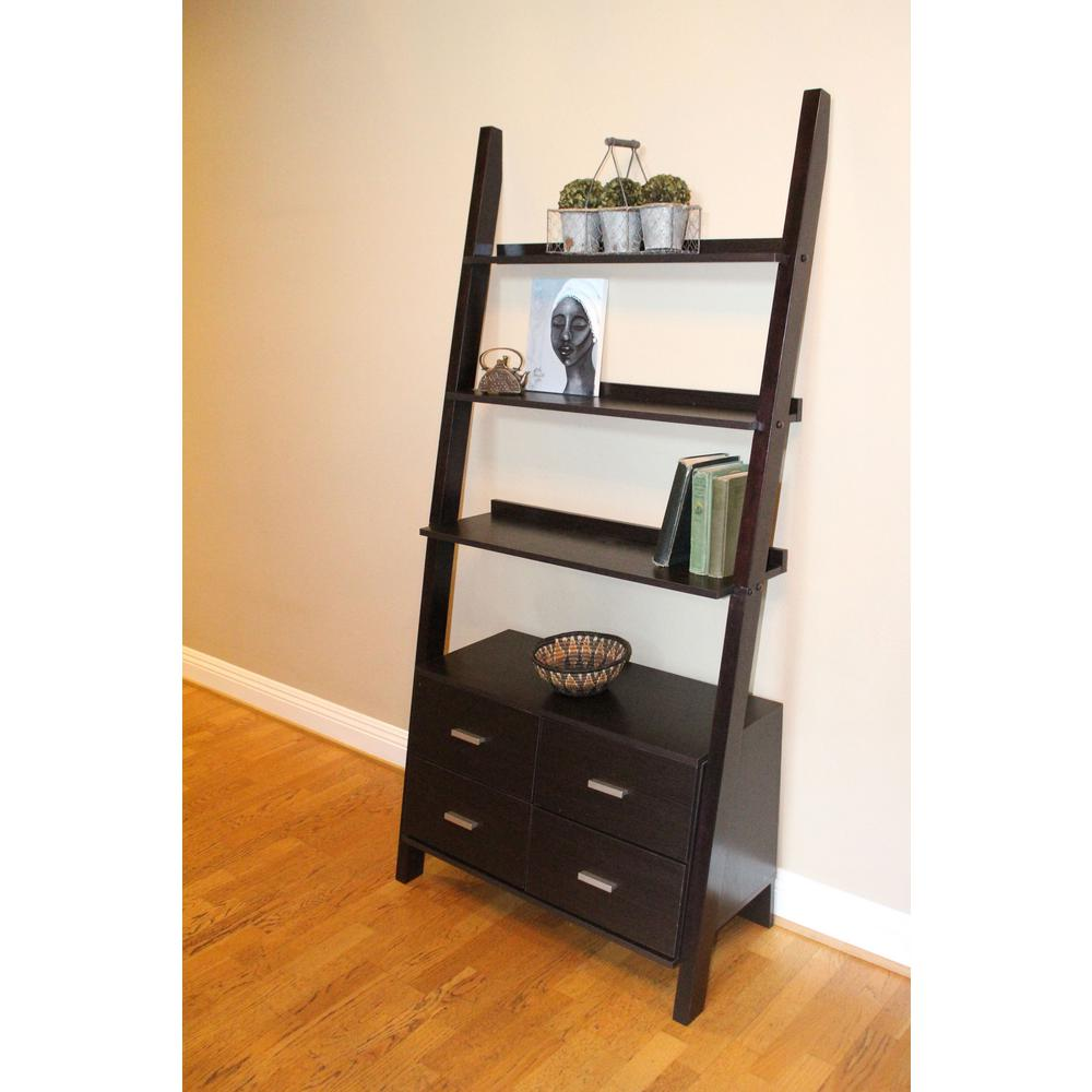 4D Concepts Leaning Walnut Ladder Drawer Bookcase