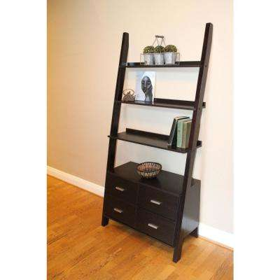 Leaning Walnut Ladder  Drawer Bookcase