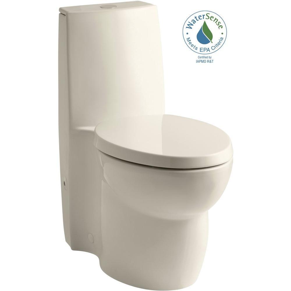 KOHLER Saile 1-piece 0.8 or 1.6 GPF Dual Flush Elongated Toilet in Almond