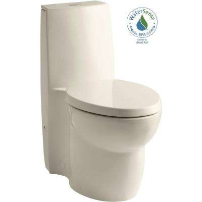Saile 1-piece 0.8 or 1.6 GPF Dual Flush Elongated Toilet in Almond