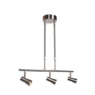 Sleek 23 in. 4-Watt Integrated LED Brushed Steel Pendant with Shade