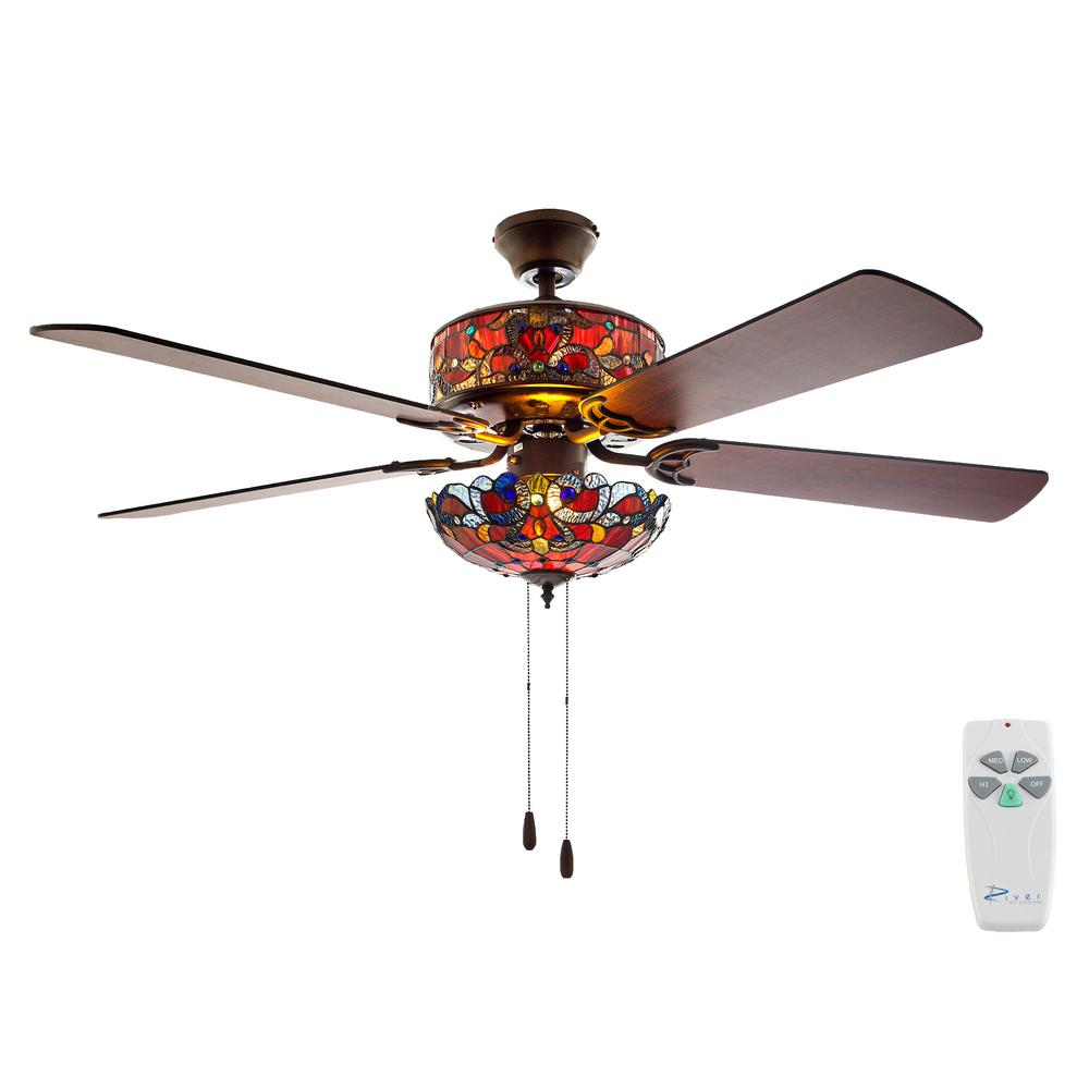 Indoor red ceiling fan with light kit and remote control
