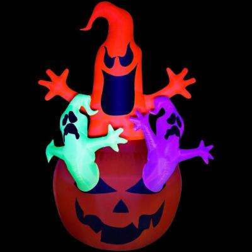 7 ft. Inflatable Halloween Pumpkin Jack Neon Ghost Trio