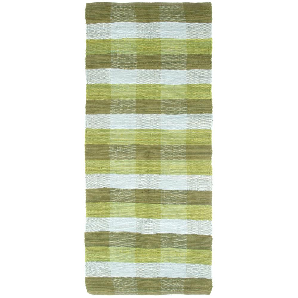 superior Chindi Runner Part - 8: Lavish Home Chindi Plaid Moss 2 ft. x 5 ft. Runner Rug